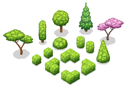 Isometric trees and park objects collection. Isolated vector illustrations.