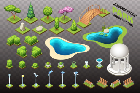 Isometric park constructor. Set of different trees, bushes and other park objects. Isolated vector illustrations.