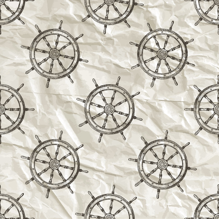 Nautical seamless pattern. Hand drawn vector illustration.
