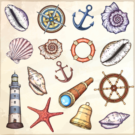 Nautical illustrations set. Hand drawn isolated vector drawings. 向量圖像