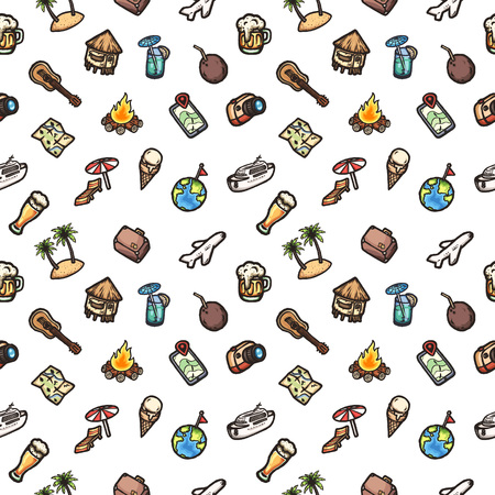 Vacation vector seamless pattern. Hand drawn background.
