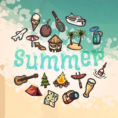 Set of hand drawn cartoon vacation icons. Illustration