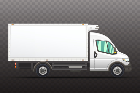 Illustration of realistic van on a semi-transparent background.