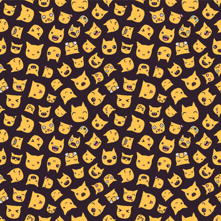 Hand drawn vector eps10 emoticons seamless pattern.