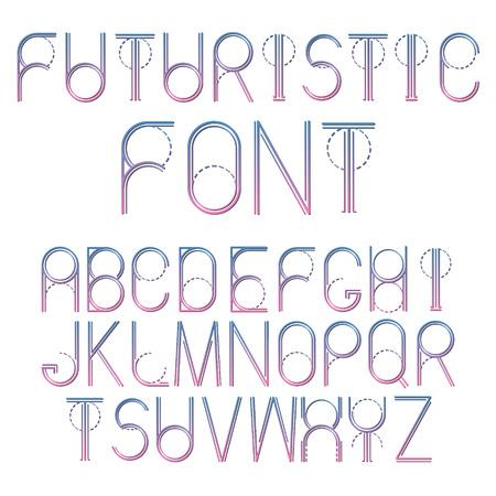 Futuristic abstract font. Thin line vector alphabet. Ilustracja