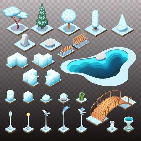 Winter collection of isometric trees, rocks, and different park objects. Vector isolated illustrations.