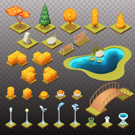 Autumn collection of isometric trees, rocks, and different park objects. Vector isolated illustrations.