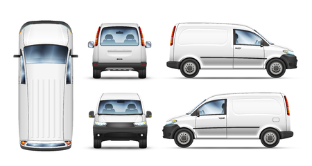 Set of realistic vector illustrations of van from different view.
