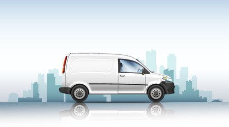 Conceptual vector illustration of van fast delivery service on a urban background. Vectores