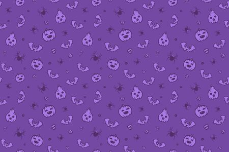 Pattern on a Halloween holiday. Seamless vector texture with many scary things and creatures