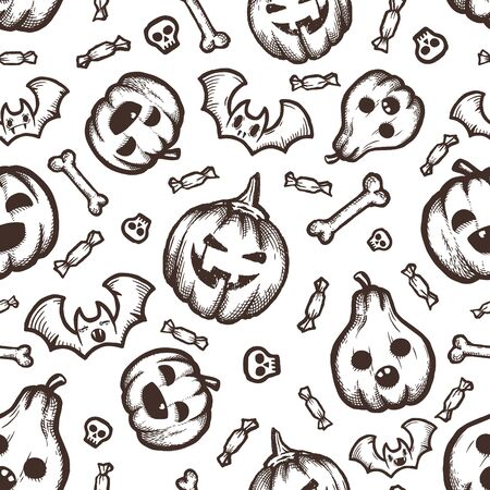 Halloween hand-drawn vector seamless pattern with cartoon doodles.