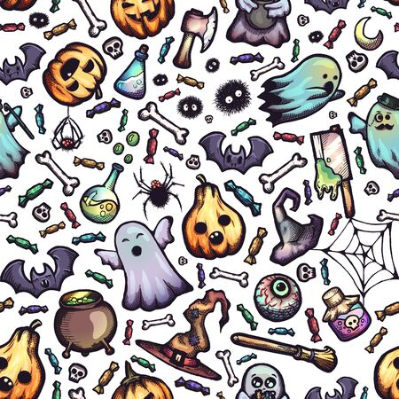 Halloween hand-drawn vector seamless pattern with cartoon doodles.