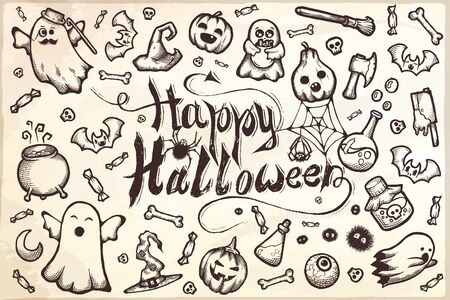 Hand-drawn set of many Halloween cartoon doodles.