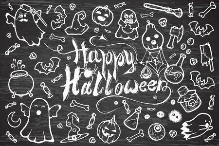 Hand-drawn set of many Halloween cartoon doodles.