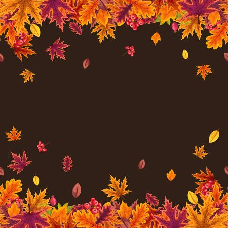 Vector seamless pattern with stylized autumn leaves.