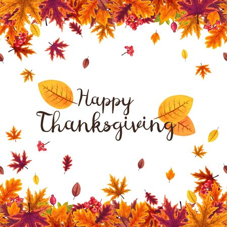 Happy Thanksgiving background with stylized autumn leaves.