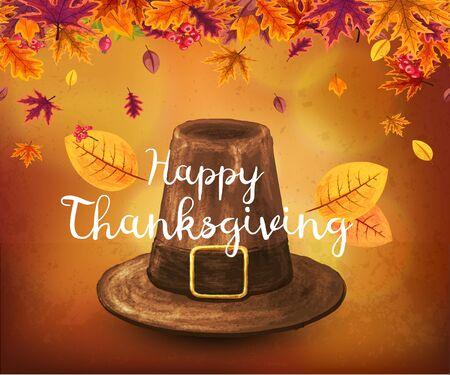 Hand-drawn Pilgrim hat. Illustration on a Thanksgiving holidays. Illustration