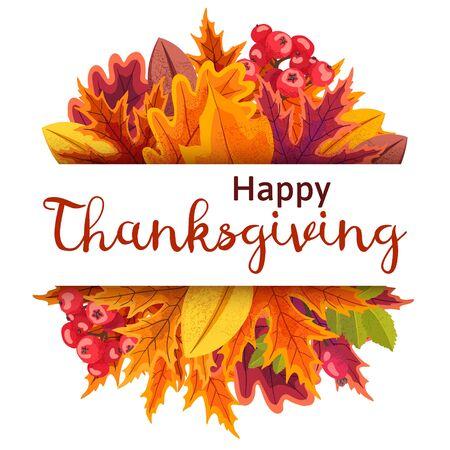 Happy Thanksgiving-achtergrond met gestileerde herfstbladeren.