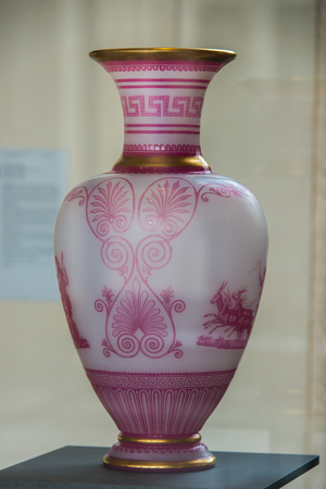 Old beautiful pink glass vase