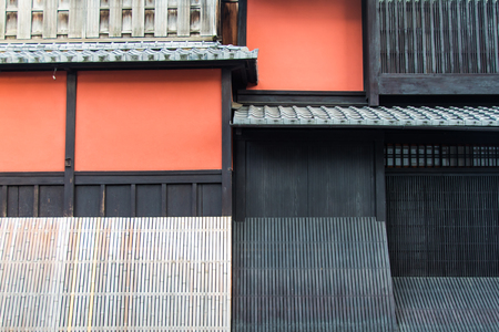 Abstract Red wall in Gion aria in kyoto