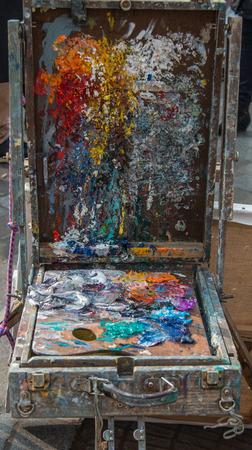 Colorful Artist Color palette Montmartre painter in Paris