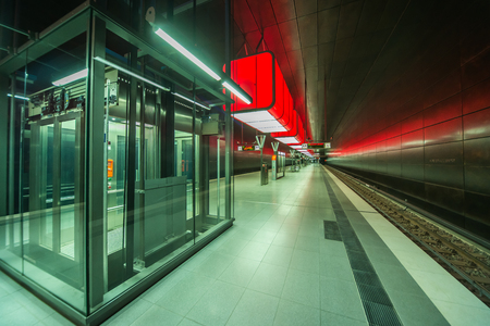 HafenCity U-Bahn metro Hamburg perspective lights