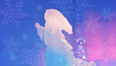 Ice Magic Sculpture bear and penguin chatting Stock Photo