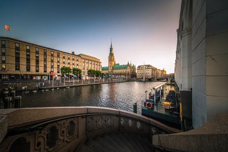 Hamburg Rathaus city hall Alterfleet at twilight