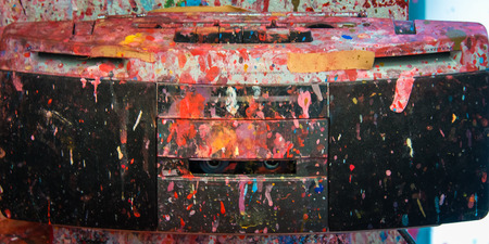 CD player and radio in Color firework messy art studio atelier