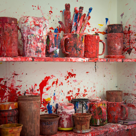 Color firework messy art studio atelier kitchen Stockfoto