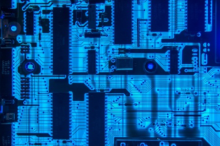 Computer motherboard glowing closeup Standard-Bild - 114853580