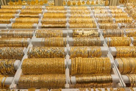 Golden bracelets in Jewelry shop in teheran bazar