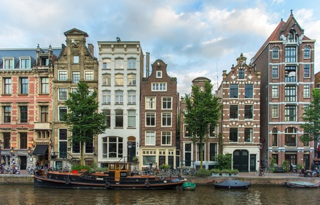 Amsterdam romantic street view blue cloudy sky Éditoriale