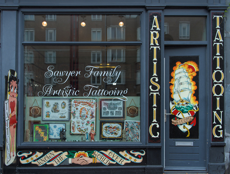 Tattoo shop in street of  Amsterdam Éditoriale
