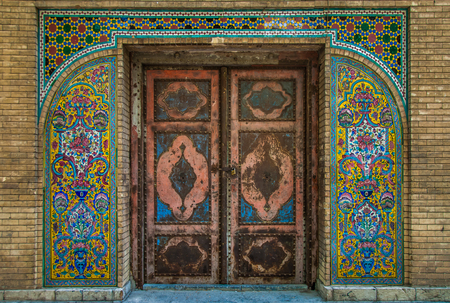 Mosaic traditional oriental floral wall pattern in Iran