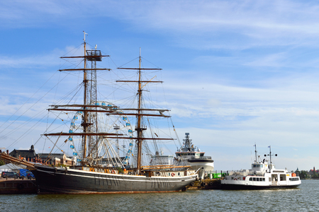 brig ship: Gerda is two masted sailing vessel that was built in 2005. It is replica of same named cargo sailing vessel that brought wood to Britain and coal to Sweden 1869-1930 Stock Photo