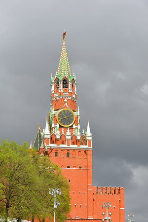 spassky: Spassky Tower of Moscow Kremlin, Russia Stock Photo