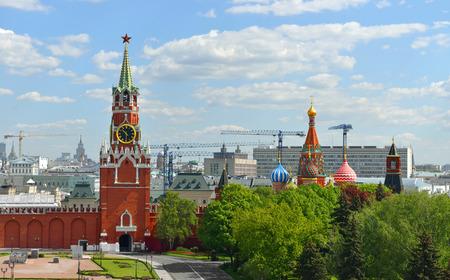 spasskaya: Spasskaya tower of Kremlin against the background of Moscow panorama, Russia