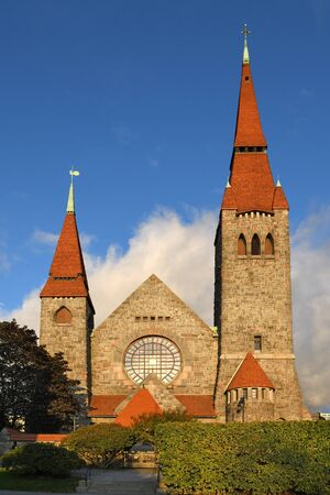 Tampere Cathedral (Tampereen tuomiokirkko), Lutheran church in Tampere, Finland, and seat of Diocese of Tampere. Building was designed in National Romantic style by Lars Sonck, built between 1902 and 1907 Stock Photo