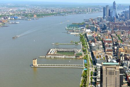 River between Hudson Waterfront in New Jersey (left) and Manhattan (right) in New York City
