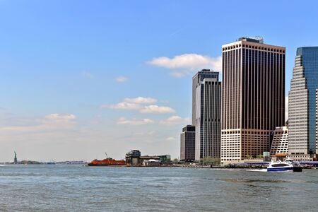 Southernmost tip of Manhattan and Ellis Island, New York City. United States