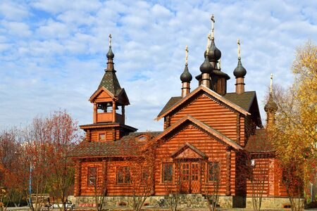 Church of Holy Apostles Constantine and Elena in golden autumn. Moscow, Russia