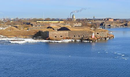 Suomenlinna (Sveaborg), beautiful sea fortress and which now forms part of city of Helsinki. View from sea Editorial