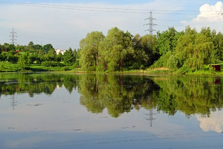 Penyaginsky Pond in Mitino Landscape Park. Moscow, Russia