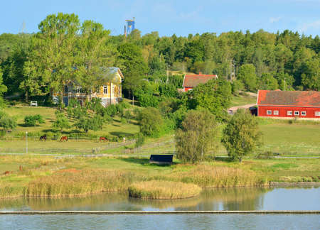 Summer landscape. Manor with farm on the Baltic Sea. Turku Archipelago, Finland