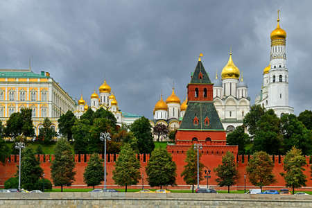 Moscow Kremlin. Walls, towers and cathedrals in picturesque autumn. Russia