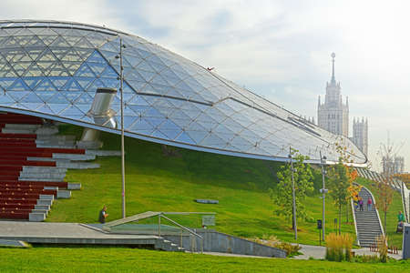 Zaryadye Nature-Landscape Park. Philharmonic hall's glass dome. Moscow, Russia