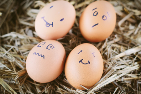afflicted: Painted  eggs about emotion on the face
