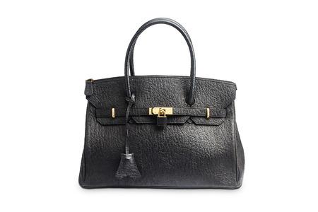 woman handle success: Black female bag isolated on white background Stock Photo
