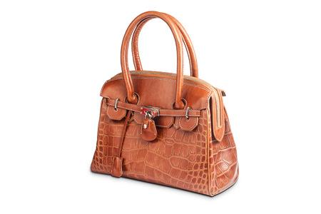 leather woman: Nice brown crocodile leather woman handbag isolated Stock Photo
